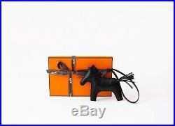 New Hermes So Noir Black Rodeo MM Horse Keychain Bag Charm Carmen Birkin Kelly