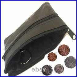 New Ladies Men Genuine Leather Small Coin Card Key Ring Wallet Pouch PurseClrCn