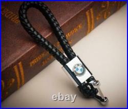New Men Universal BMW Key Holder Keychain Elegant Woven Leather Strap Keyfob