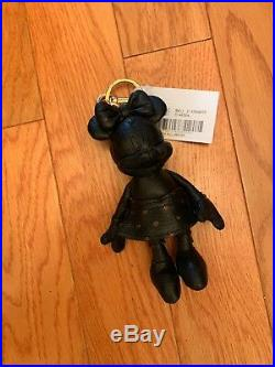 New! Minnie Mouse Coach X key/ purse fob doll charm black leather