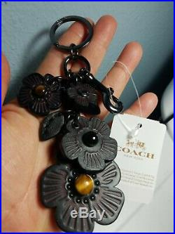 New Nwt Coach 56721 Black Tea Rose Mix Willow Floral Bag Charm Keychain Fob