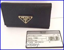 New PRADA Black Saffiano Case Holder Key Ring Chain