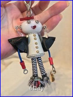 New PRADA ROBOT GIRL Silver Gold Tone Metal Keychain Bag Charm, GUCCI BOX