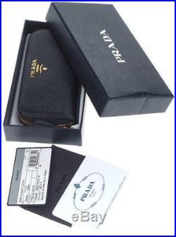 New Prada Black Leather Logo Zip Around Card Case Key Holder Wallet