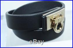 New Salvatore Ferragamo Bracelet Double Wrap Gancini Black Leather
