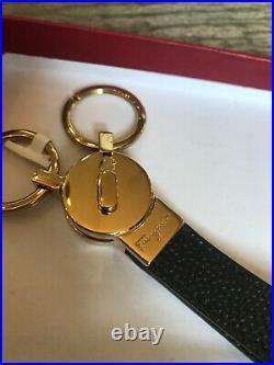 New Salvatore Ferragamo Gancini Keychain Keyfob Mens Double Key Ring, Keychain
