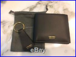 New TOM FORD Black Smooth Calf Men's Billfold Wallet Set with Key Chain NIB Italy