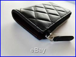 Nib Chanel Black Quilted Leather Silver CC Wallet Key Chain O-coin Purse