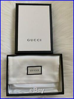 Nib Gucci Black Gg Logo Embossed Web Wallet Card Holder Keychain With Strap