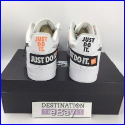 Nike Air Force 1 AF1 Sneakers JUST DO IT White Blk Orange Men 13 Keychain JDI