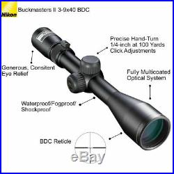 Nikon Buckmasters II Rifle Scope 3-9x40mm BDC Reticle 16338 with Cloth & Keychain