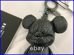 Nwt Coach Pebble Leather Mickey Bag Charm Black 59152