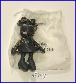Nwt Coach X Disney Minnie Mouse F30955 Black Doll Fob Key Chain Handbag Charm