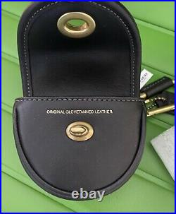Nwt Limited Edition Coach Black Leather Turnlock Saddle Bag Charm 3727