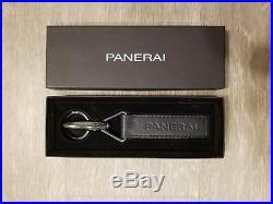 Officine Panerai Key Chain Keyring Black Leather In Box PAA00547