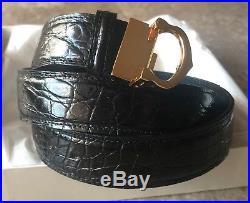 Original Cartier Men's YG C Buckle Black Genuine Alligator 44 Belt L5000001