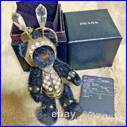 PRADA Armour Black Bear Bag Charm Key Ring Keychain WithBox