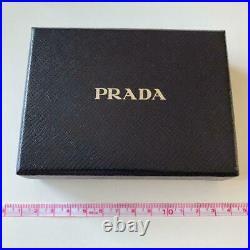 PRADA Authentic BAG CHARM KEYRING KEY HOLDER Cat Motif Black Gold Accessories