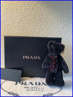 PRADA Authentic Teddy Bear Mascot Keyring Black Keychain Bag Charm