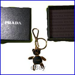 PRADA Bear Bag Charm Key Ring Chain Black Gold Stainless Hook Logo With Box Used