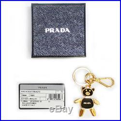 PRADA Bear Pendant Black KeyRing ACCIAIO Steel SMALTO Enamel 1PS399 NERO Holder
