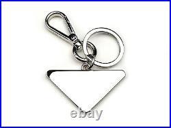 PRADA Black Enameled Triangle Stylized Logo Steel Keychain NIB