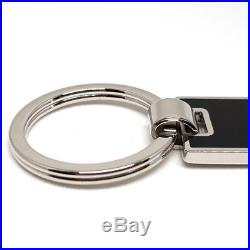 PRADA Black KeyRing ACCIAIO SMALTO STEEL ENAMEL KeyHolder 2PS021 NERO Authentic