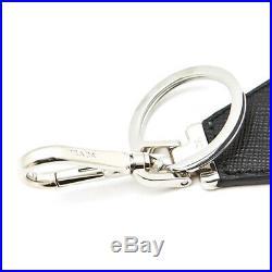PRADA Black KeyRing Calf Leather Metal KeyHolder 2PP041 053 F0002 Mens Womens