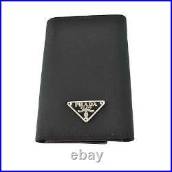 PRADA Black, Tessuto Nylon & Logo Key Case/Wallet (oq)