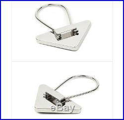 PRADA Black Triangle Logo KeyRing Calf Leather Metal KeyHolder 2PP301 053 F0002