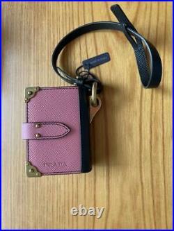 PRADA Cahier Trick Notebook Bag Charm Keyring Keychain Leather Pink Black Color