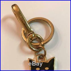 PRADA Cat Gold / Black Key Ring Charm Key Chain Metal Used