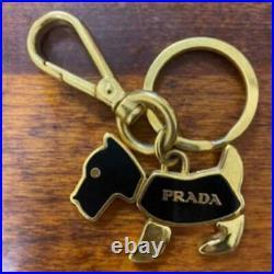 PRADA Dog Bag Charm Keyring Keychain Gokd Black Color