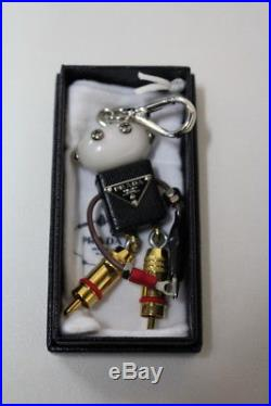 PRADA Edward Robot Trick Black Electrical Parts Key Chain Charm Silver Clasp