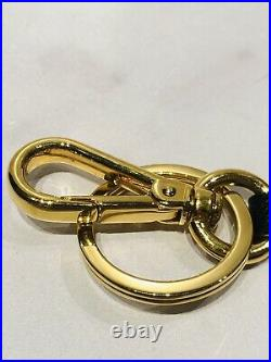 PRADA Gold Plated Black Leather Logo Geometric Key Chain