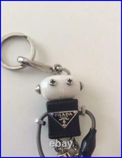 PRADA Robot Logo Keychain Keyring Bag Charm Black