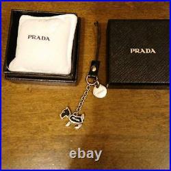 PRADA TELEPHONE STRAP BAG CHARM KEYRING Dog Silver Black CHARM LOGO Keychain