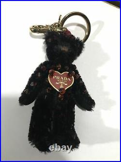 PRADA heart black bear charm key chain good condition red bijou second hand