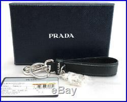PRADA key ring with a key chain robot charm black black × silver leather 130