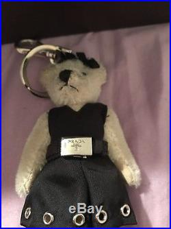 Prada Bear in Black Dress Silver Hole Bow Key chain / Key Ring / Bag Charm