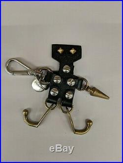 Prada Black Leather Metal robot bag charm key chain