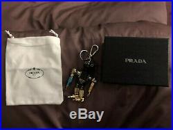 Prada Black Leather Metal robot bag charm key chain 1TR252 Robin