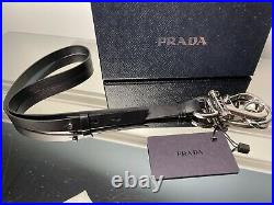 Prada Black Leather and Silver-toned metal Key Ring Key Chain 2PP115
