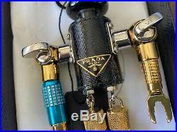 Prada Black Leather & metal robot bag charm key chain 1TR252