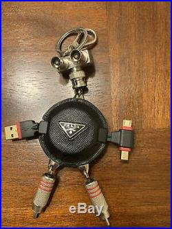 Prada Black Saffiano Leather Robot Keychain