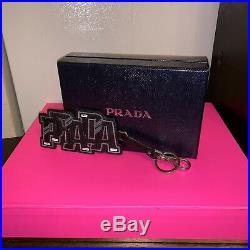 Prada Black Signature Logo Leather Keychain Bag Charm New In Box