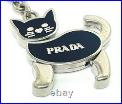 Prada Cat Motif Silver/Black Key Ring Keychain Bag Charm Telephone Strap