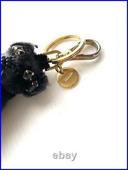 Prada Keyring Bag Charm Key Holder Bear Gold Black Logo Authentic