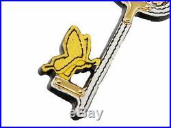 Prada Leather Key Chain Rick in Pelle Tu Saffinano Key White Black Gold 1TL069