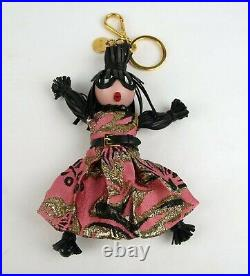 Prada Leather and Pink Fabric Black Hair Doll Key Chain Ring